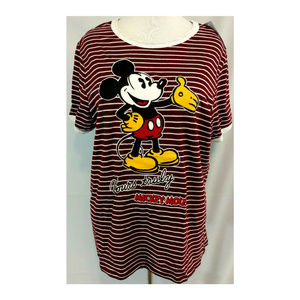 Mickey Mouse Plus 3X Tee Top Womens Graphic Stripe